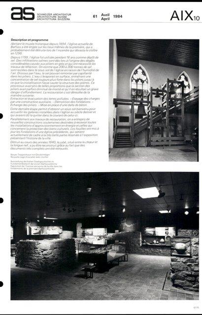 Restauration de la Barfüsserkirche et aménagement du Musée historique, page 3