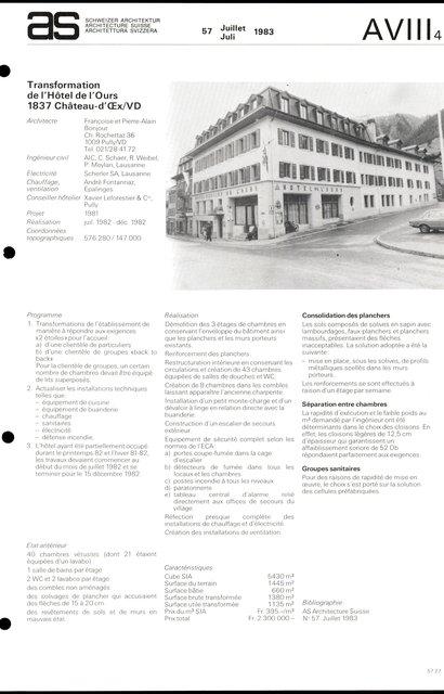 Transformation de l'Hôtel de l'Ours, page 1