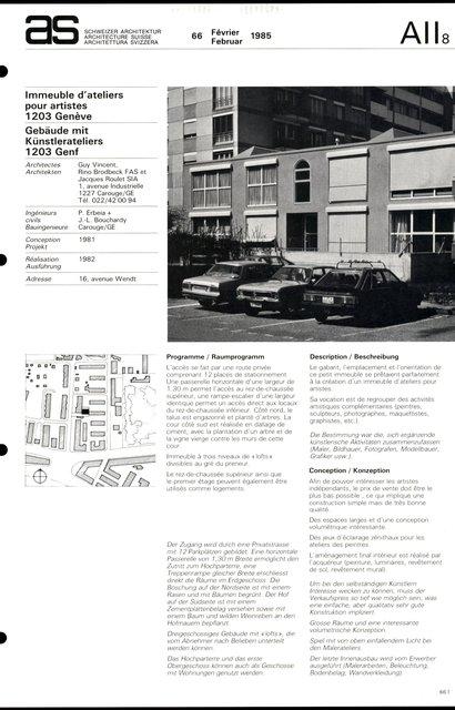 Immeuble d'ateliers pour artistes, page 1