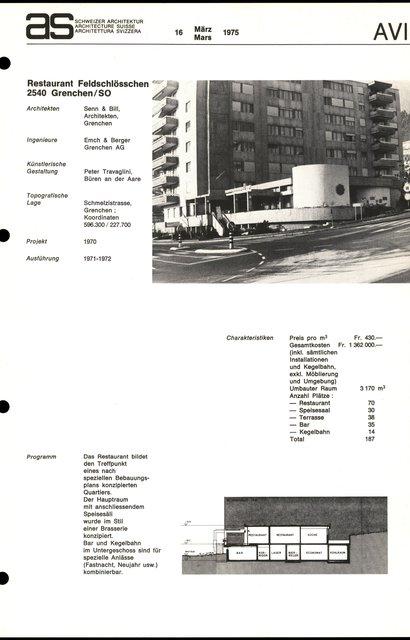Restaurant Feldschlössschen, page 1
