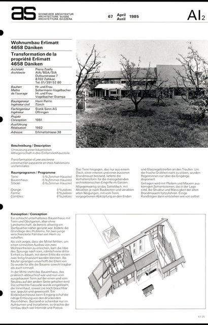 Transformation de la propriété Erlimatt, page 1