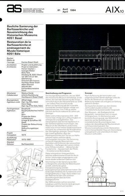 Restauration de la Barfüsserkirche et aménagement du Musée historique, page 1