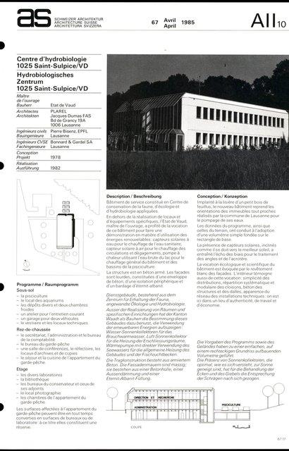 Centre d'hydrobiologie, page 1