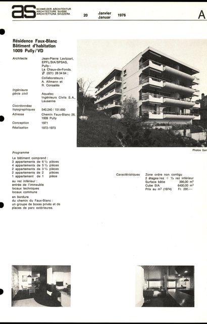 Résidence Faux-Blanc, Bâtiment d'habitation, page 1
