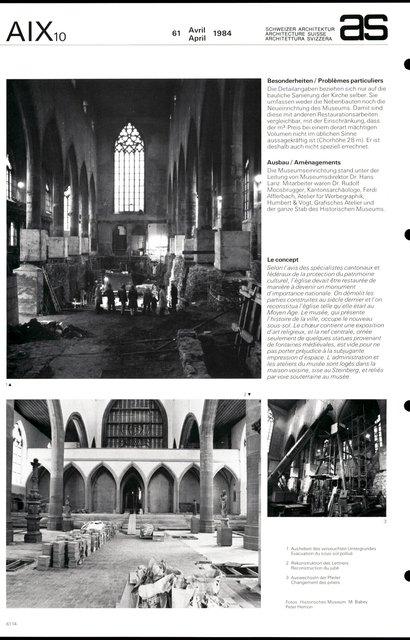 Restauration de la Barfüsserkirche et aménagement du Musée historique, page 2