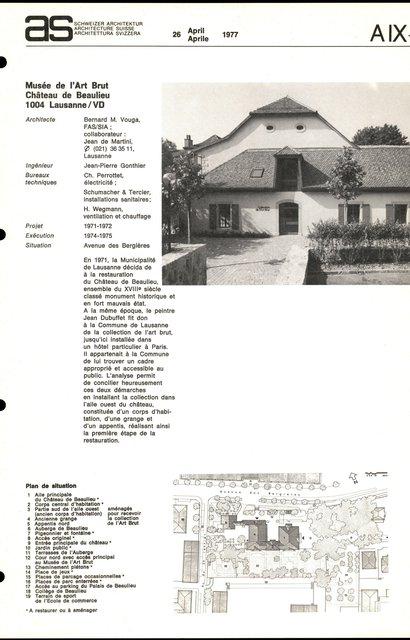 Musée de l'Art Brut, Château de Beaulieu, page 1