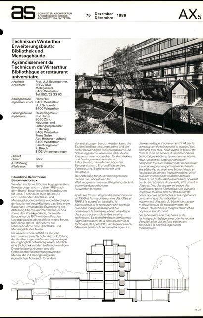 Agrandissement du Technicum de Winterthur Bibliothèque et restaurant universitaire, page 1