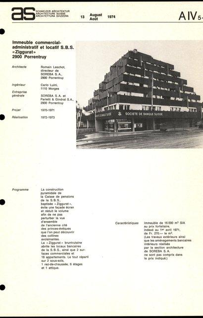 """Immeuble commercial-administratif et locatif S.B.S. """"Ziggurat"""", page 1"""