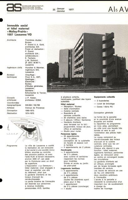 """Immeuble social et hôtel maternel """"Malley-Prairie"""", page 1"""