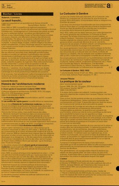 Histoire de l'architecture moderne, Leonardo Benevolo, page 1