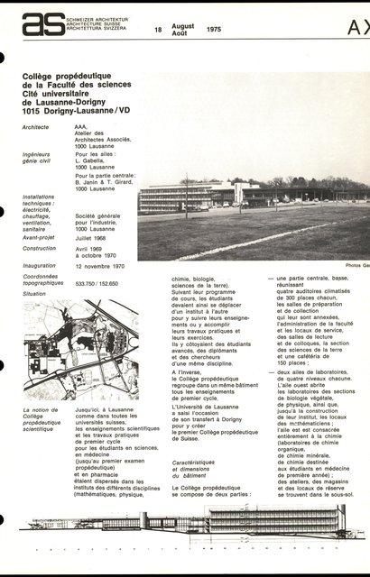 Collège propédeutique de la Faculté des sciences, Cité universitaire de Lausanne-Dorigny, page 1