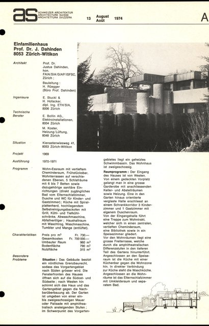 Einfamilienhaus Prof. Dr. J. Dahinden, page 1