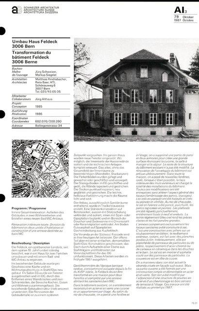 Transformation du bâtiment Feldeck, page 1