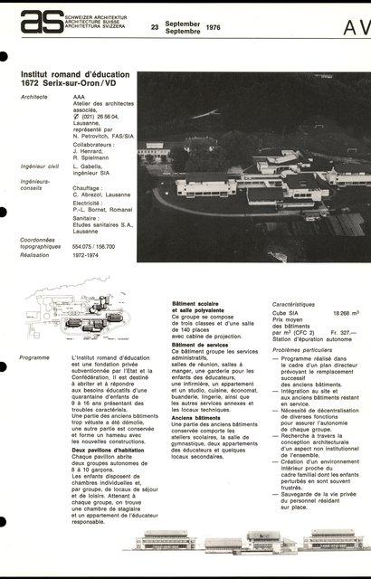 Institut romand d'éducation, page 1