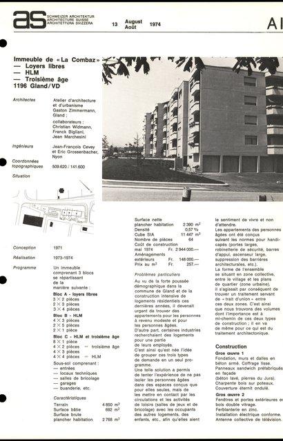 """Immeuble de """"La Combaz"""", Loyers libres, HLM, Troisième âge, page 1"""