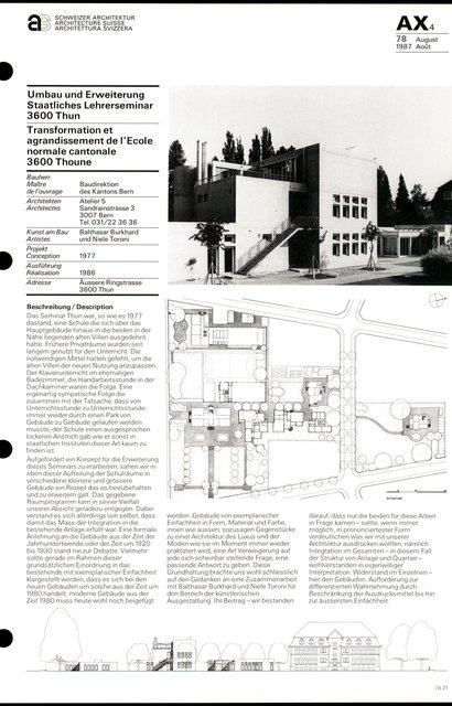 Transformation et agrandissement de l'Ecole normale cantonale, page 1