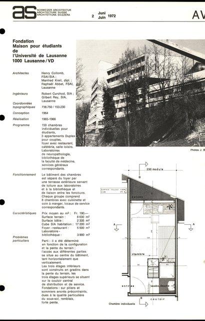 Fondation Maison pour étudiants de l'Université de Lausanne, page 1