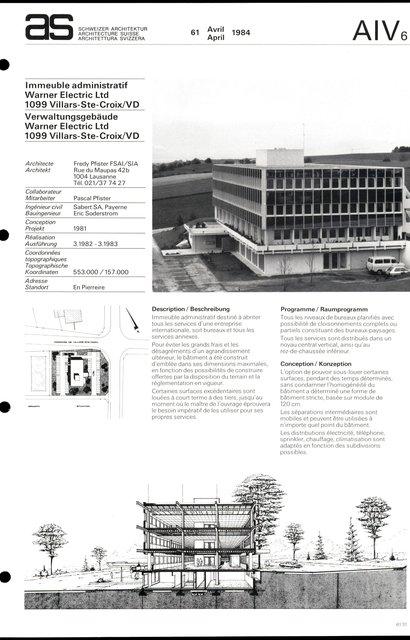 Immeuble administratif Warner Electric Ltd, page 1
