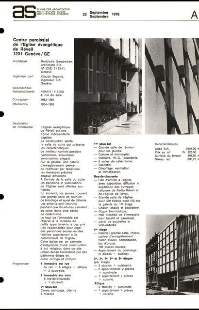 Centre paroissial de l'Eglise évangélique de Réveil, page 1