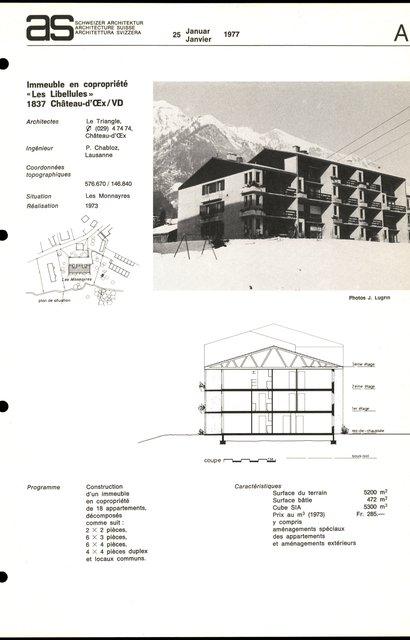 """Immeuble en copropriété """"Les Libellules"""", page 1"""