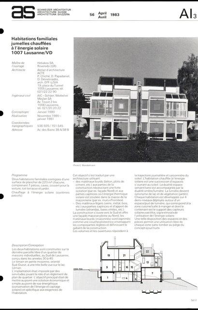 Habitations familiales jumelles chauffées à l'énergie solaire, page 1