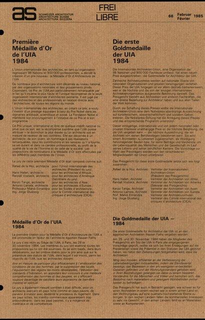 Première Médaille d'Or de l'UIA 1984, page 1