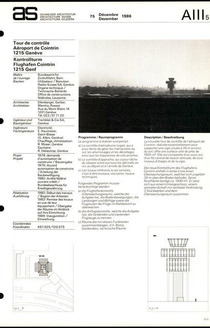 Tour de contrôle Aéroport de Cointrin, page 1