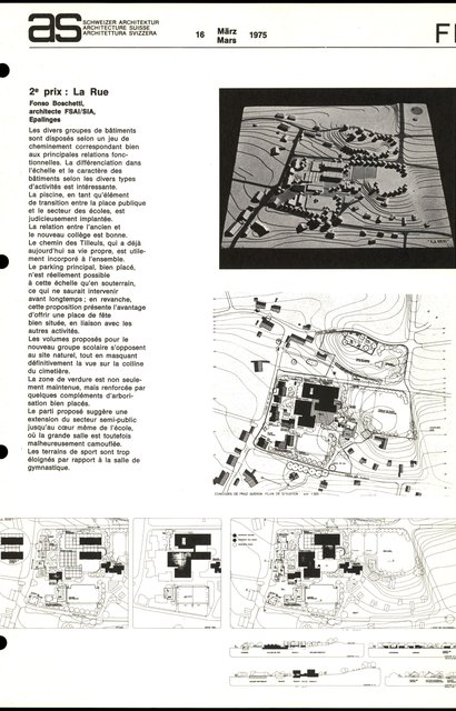 Concours d'idées en vue de l'aménagement d'un secteur d'équipements collectifs -2eme prix - La Rue, page 1