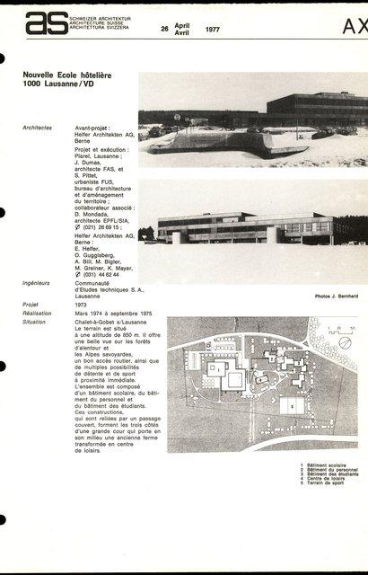 Nouvelle Ecole hôtelière, page 1
