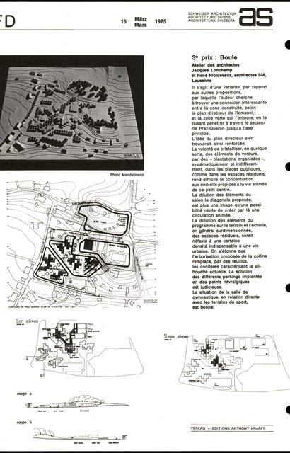 Concours d'idées en vue de l'aménagement d'un secteur d'équipements collectifs -3eme prix - Boule, page 1