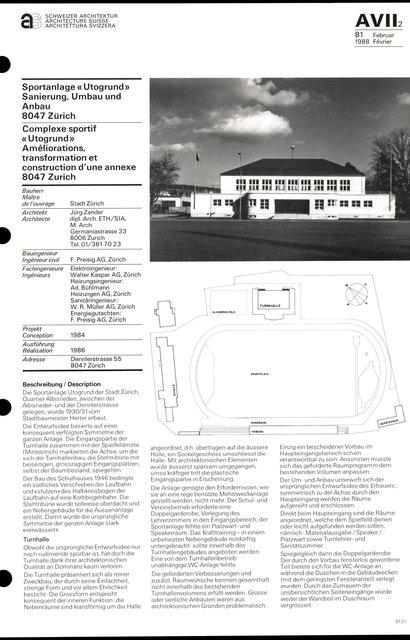 Complexe sportif « Utogrund» Améliorations, transformation et construction d'une annexe, page 1