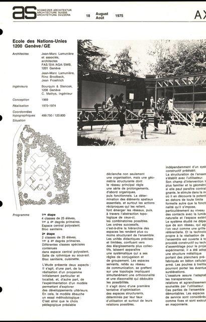 Ecole des Nations-Unies, page 1