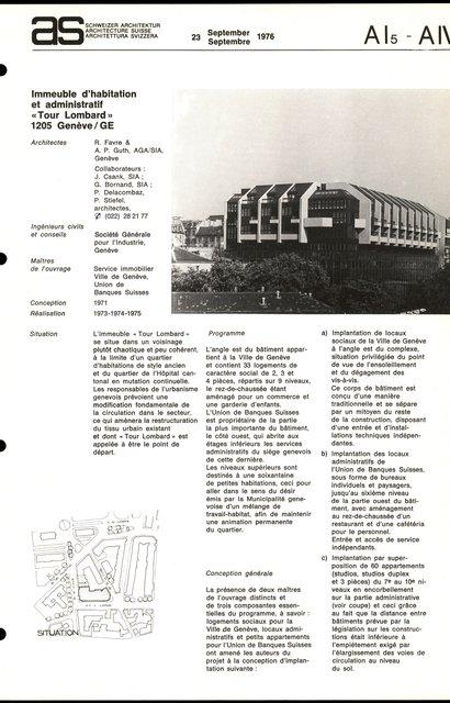 """Immeubles d'habitation et administratif """"Tour Lombard"""", page 1"""