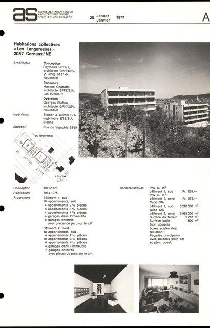 "Habitations collectives ""Les Longeresses"", page 1"