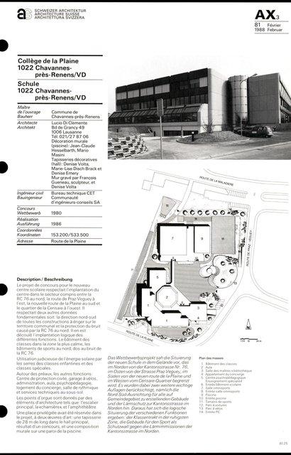 Collège de la Plaine, page 1