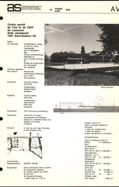 Centre sportif de l'Uni et de l'EPF de Lausanne, Salle omnisports, page 1