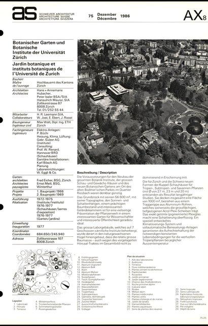 Jardin botanique et instituts botaniques de l'Université de Zurich, page 1