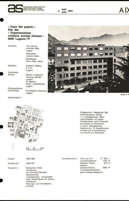 """""""Casa del popolo"""" Sitz der """"Organizzazione cristiano sociale ticinese"""", page 1"""