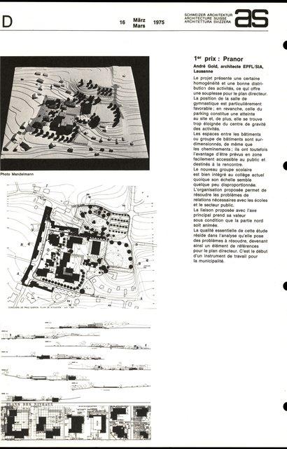 Concours d'idées en vue de l'aménagement d'un secteur d'équipements collectifs -1er prix - Pranor, page 1