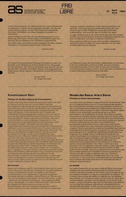 Musée des Beaux-Arts à Berne, Plaidoyer en faveur des prototypes, page 1