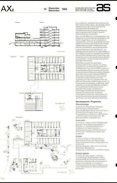 Jardin botanique et instituts botaniques de l'Université de Zurich, page 2