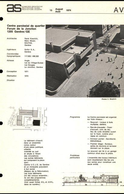 Centre paroissial de quartier, Forum de la Jonction, page 1