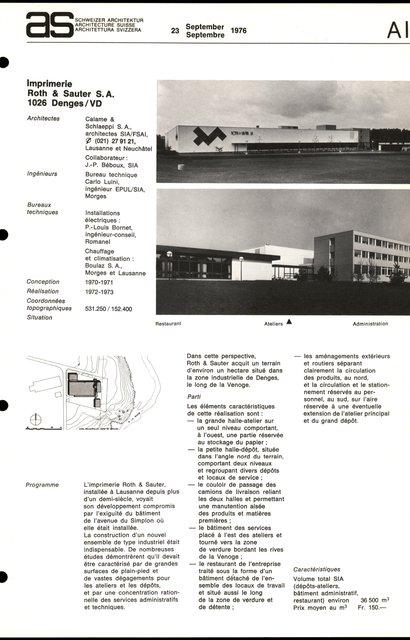Imprimerie Roth & Sauter S. A., page 1